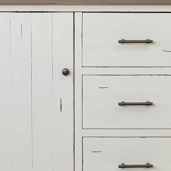 White paint detail of Large Dorset Reclaimed Wood Sideboard