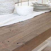 Detail of Dorset Reclaimed Wood Extendable Trestle Table