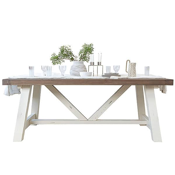 Reclaimed wood dining table with linen table runner