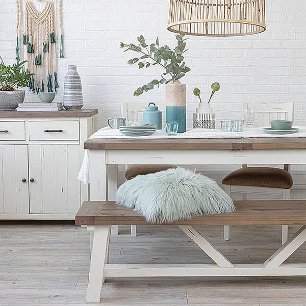 Dorset Reclaimed Wood Dining Bench with extendable dining table
