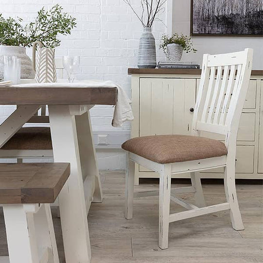 White farmhouse dining chairs with upholstered seat