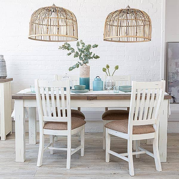 Dorset Reclaimed Wood Extending Dining Table and wooden chairs