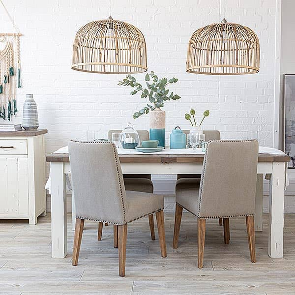 Dorset Reclaimed Wood Extending Dining Table and fabric dining chairs