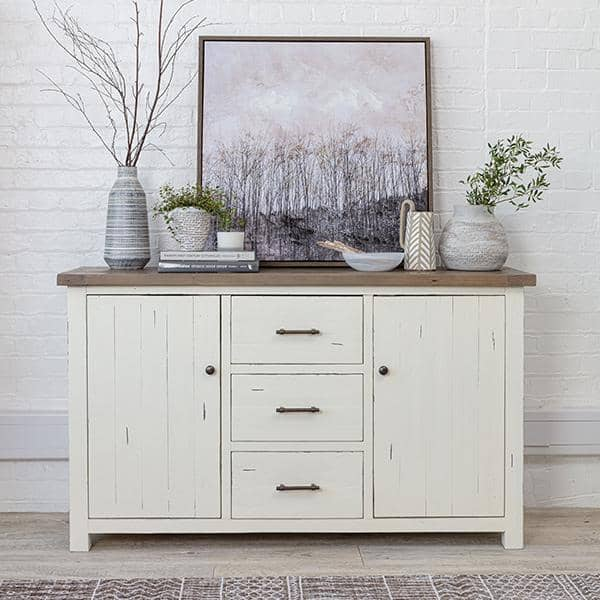 Large reclaimed wood sideboard with a white painted finish