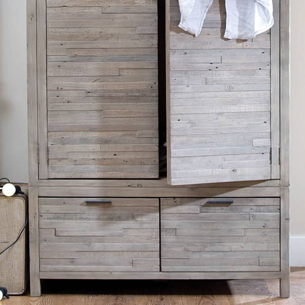 Dulwich Reclaimed Wooden Wardrobe with Drawers