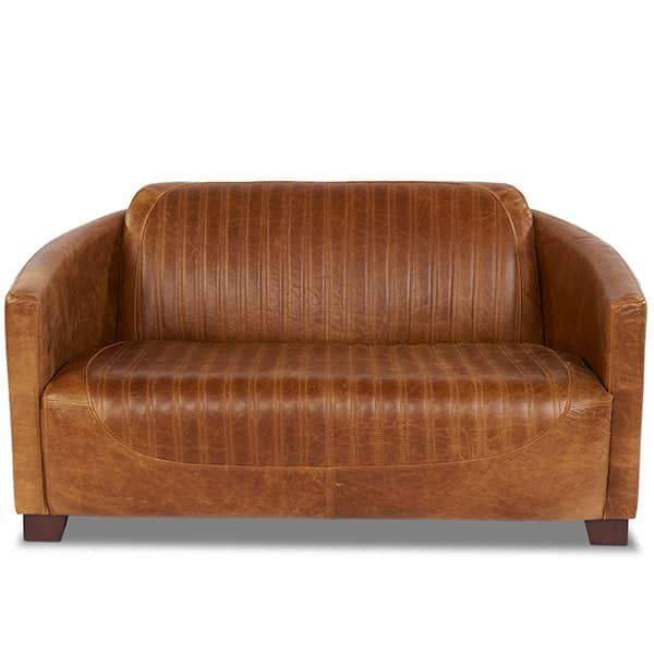 2 Seater Spitfire Leather Sofa Front View