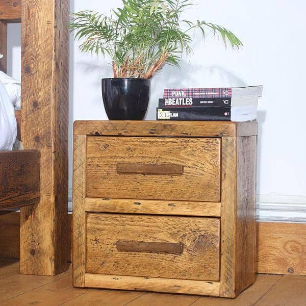 English Beam 2 Drawer Reclaimed Wood Bedside Table