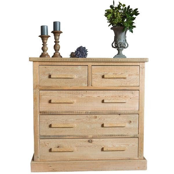 Bremnes Reclaimed Wooden Chest Of Drawers Dark