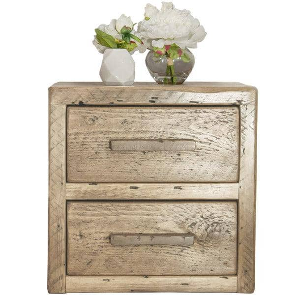 Beam 2 Drawer Reclaimed Wood Bedside Table Natural