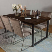 English Beam Industrial Reclaimed Wood Dining Table Dark Finish