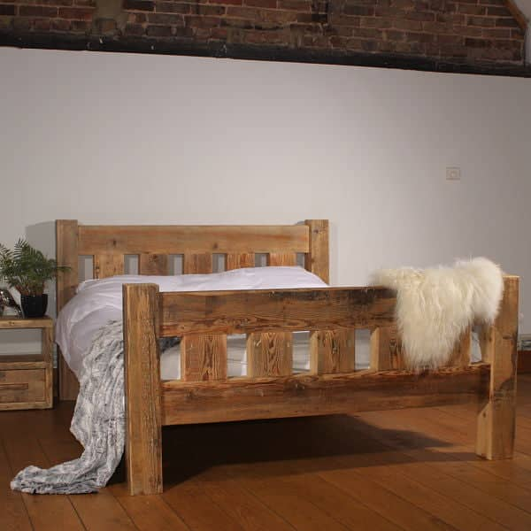 Handcrafted English Beam Surrey Reclaimed Wood Bed