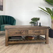 Farringdon Reclaimed Wood Coffee Table with Drawers