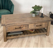 Wooden top of Farringdon Reclaimed Wood Coffee Table