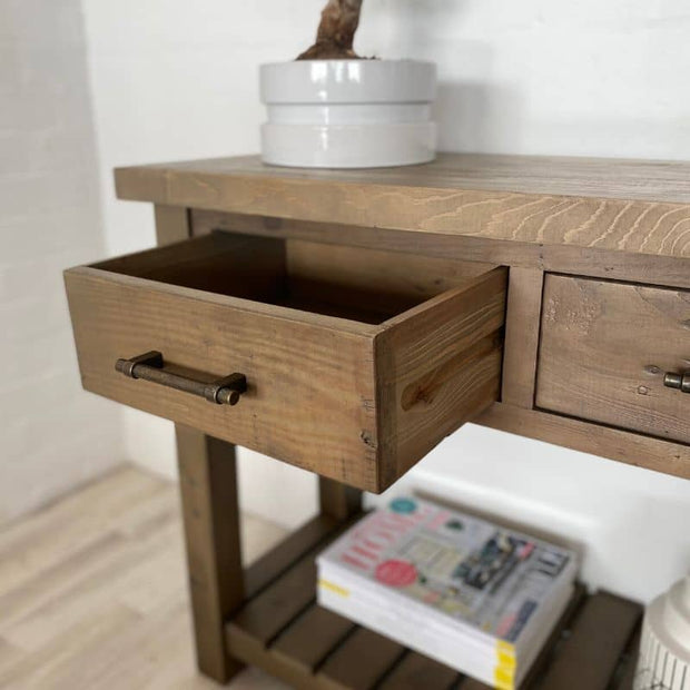 Drawer of Farringdon Reclaimed Wood Console Table