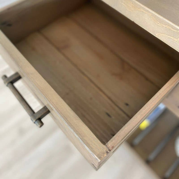 Inside drawer on Farringdon Reclaimed Wood Console Table