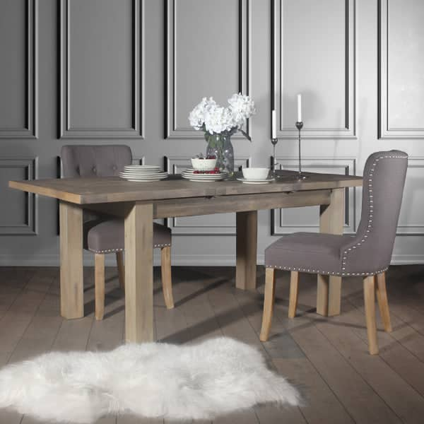 Brook Grey Upholstered Dining Chairs and Farringdon Table