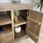 Open door on Farringdon Reclaimed Wood TV Stand