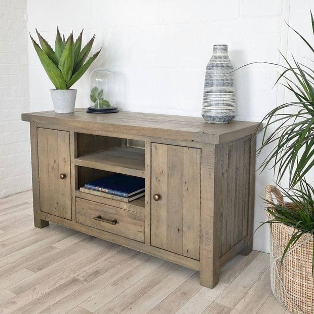 Farringdon Reclaimed Wood TV Unit with plant