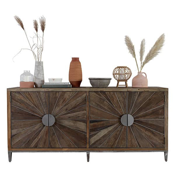 Glasgow Reclaimed Wood Large Console Table with double doors