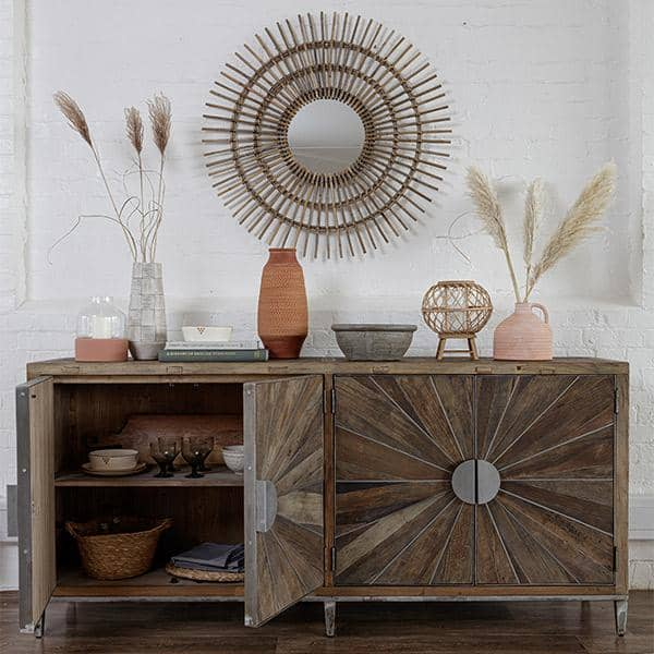 Large Reclaimed Wood Console Table with open door
