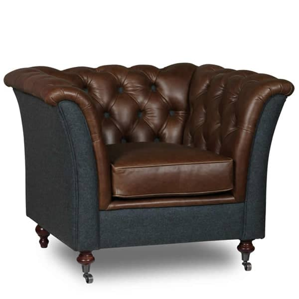 Granby Bartello Leather and Wool Armchair