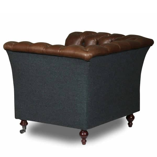 Granby Bartello Leather and Wool Armchair Back