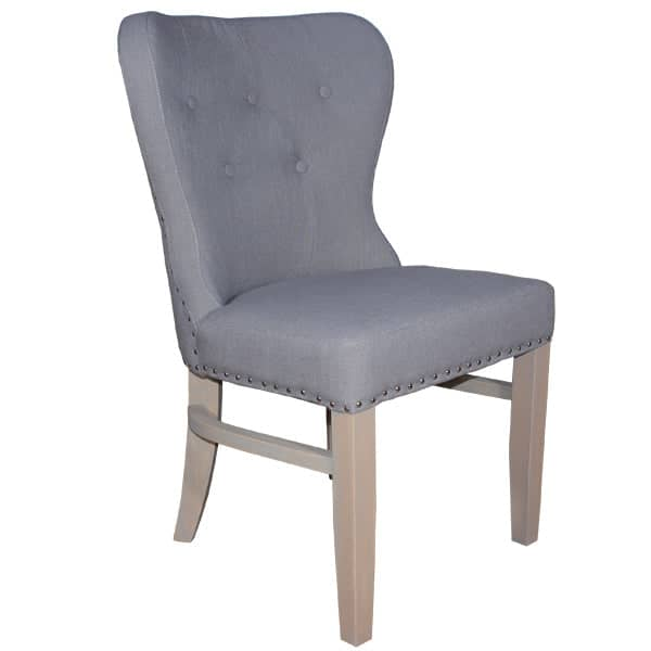 Grey Luxe Daisy Upholstered Dining Chair Cutout Side