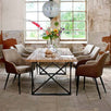 Industrial Reclaimed Wood Dining Table with Brown PU Chairs