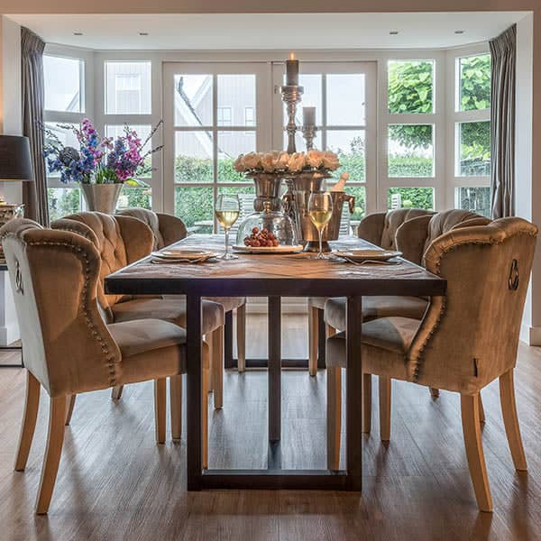 Herringbone Reclaimed Wood Dining Table and Chairs