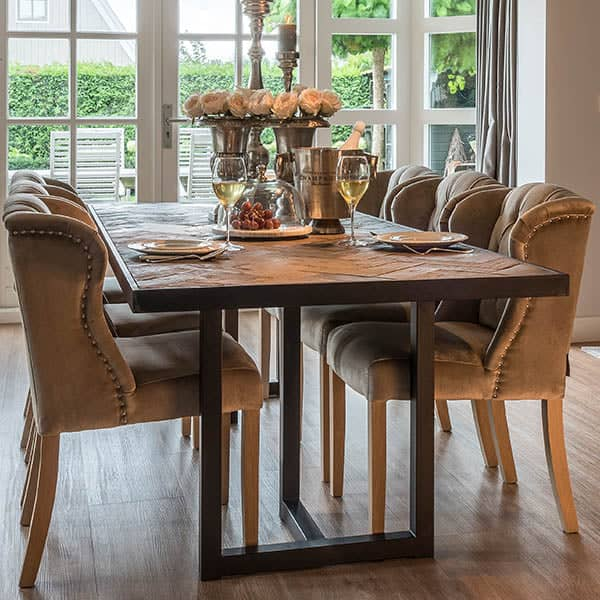 Herringbone Reclaimed Wood Dining Table and Velvet Chairs