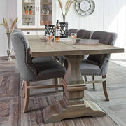 Grey Luxe Daisy Upholstered Dining Chair  and Hoxton Oak Table