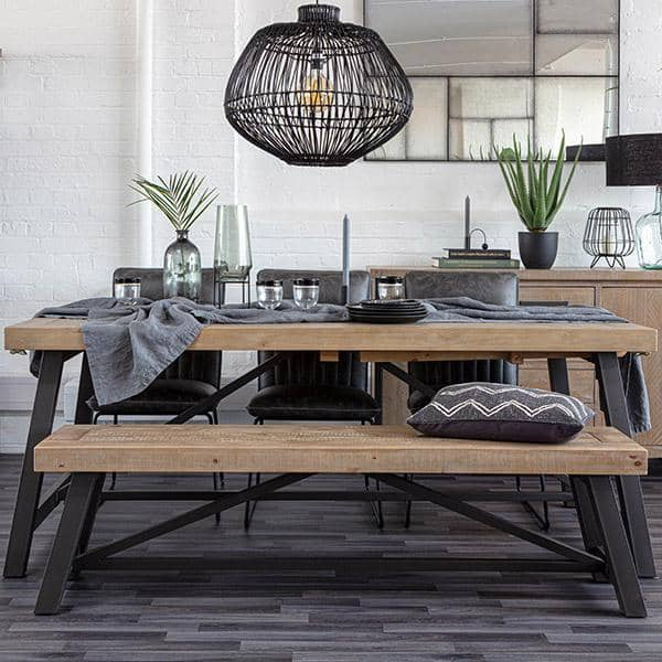 Industrial and rustic wood bench