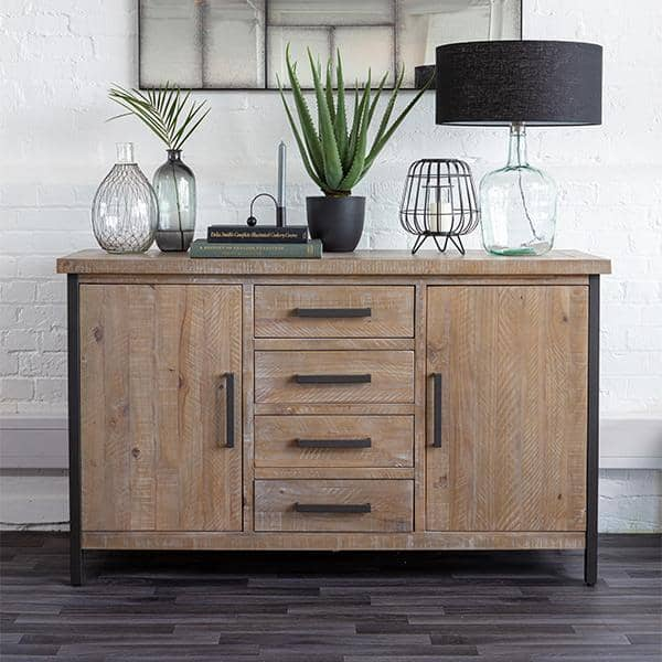Industrial style wooden large sideboard with black steel details and a glass bottle lamp