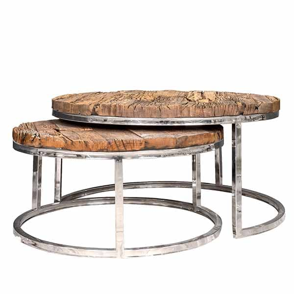 Luxe Kensington Reclaimed Wood Industrial Nest Of Round: Luxe Kensington Reclaimed Wood Round Nest Of Tables