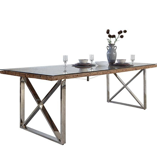 Luxe Kensington Reclaimed Railway Sleeper Dining Table with Glass Top and Stainless Steel Legs