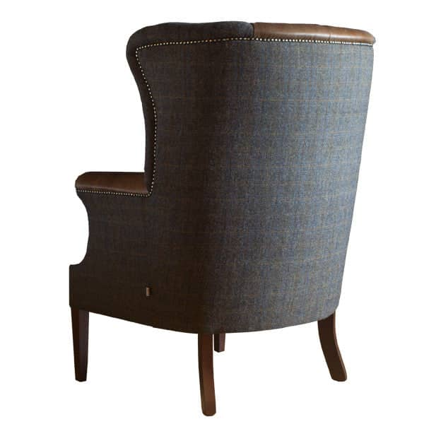 Back of Harris Tweed Kensington Armchair