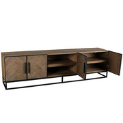 Kingsbridge Reclaimed Oak Wood TV Unit with Doors Open