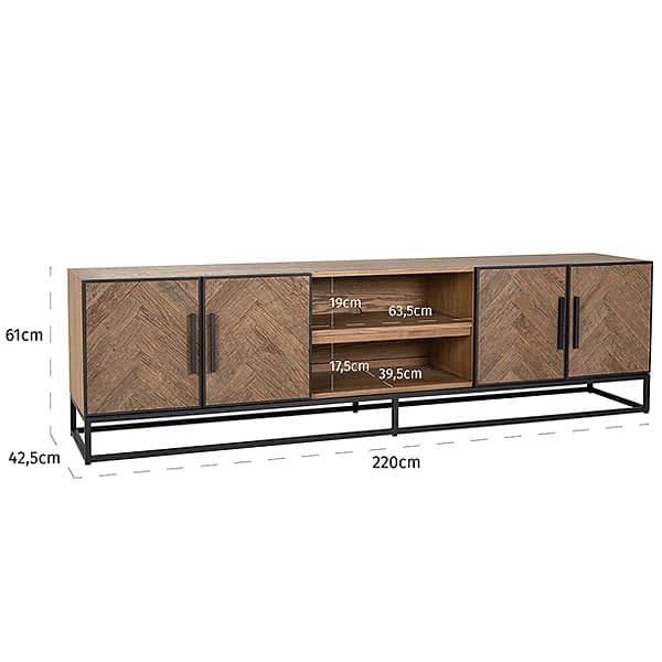 Kingsbridge Reclaimed Oak Wood TV Unit with Doors with Shelves