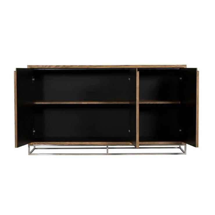 The Knightsbridge Medium Reclaimed Oak Sideboard with open doors