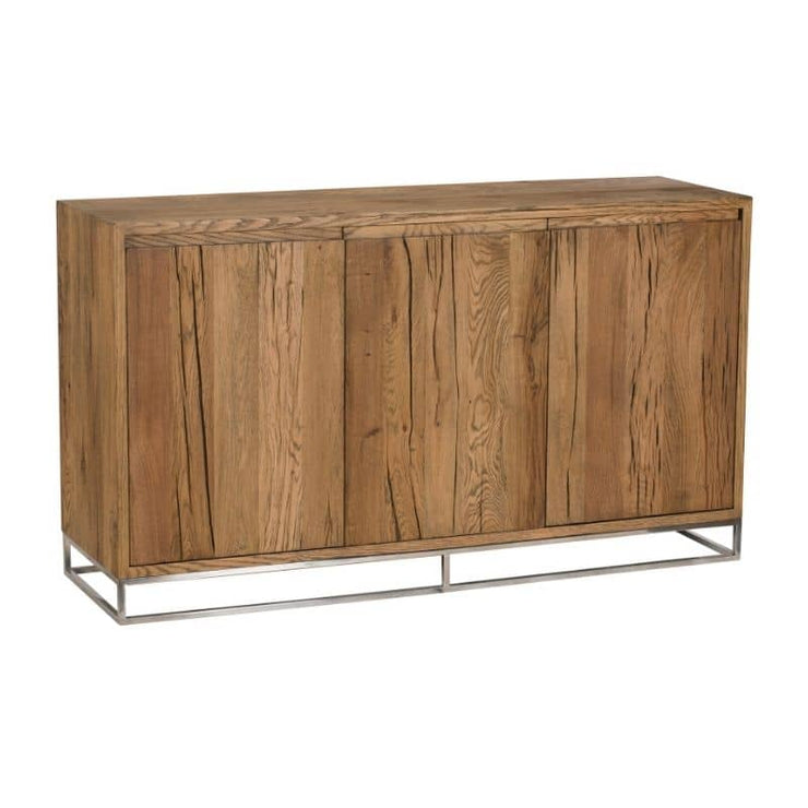 An angled view of the Knightsbridge Medium Reclaimed Oak Sideboard