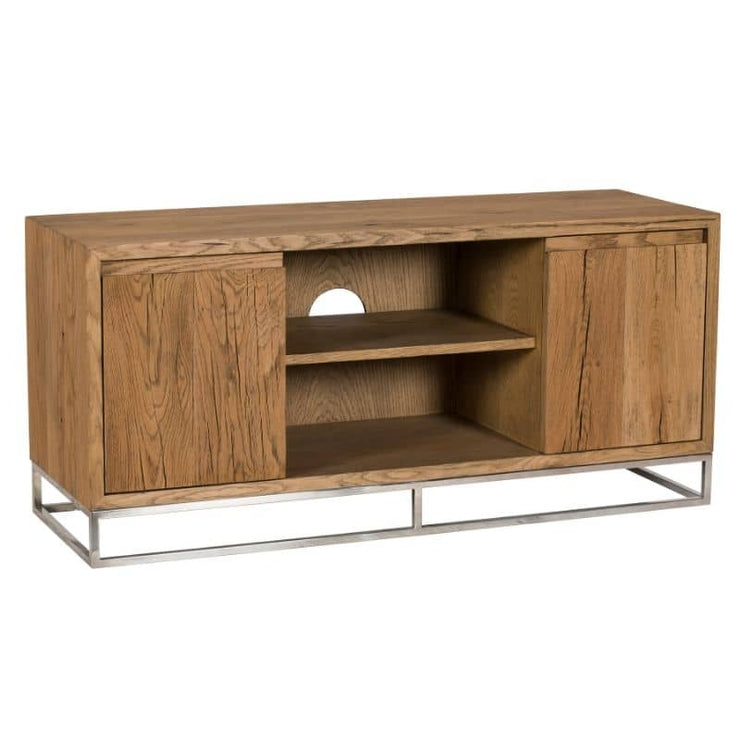 an angled view of the Knightsbridge Small Reclaimed Oak TV unit