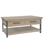 Industrial Reclaimed Wood Coffee Table with Drawers and Shelf
