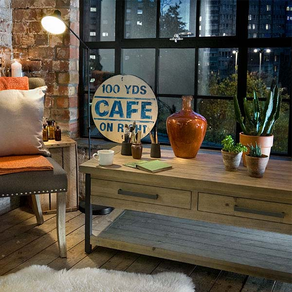 Industrial Reclaimed Wood Coffee Table in Living Room