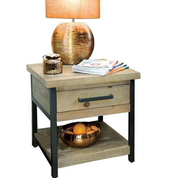 Industrial Lansdowne Rustic Wood Lamp Table cut out