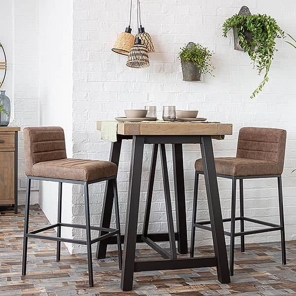 Industrial Lansdowne Rustic Wood Bar Table and Brown stools