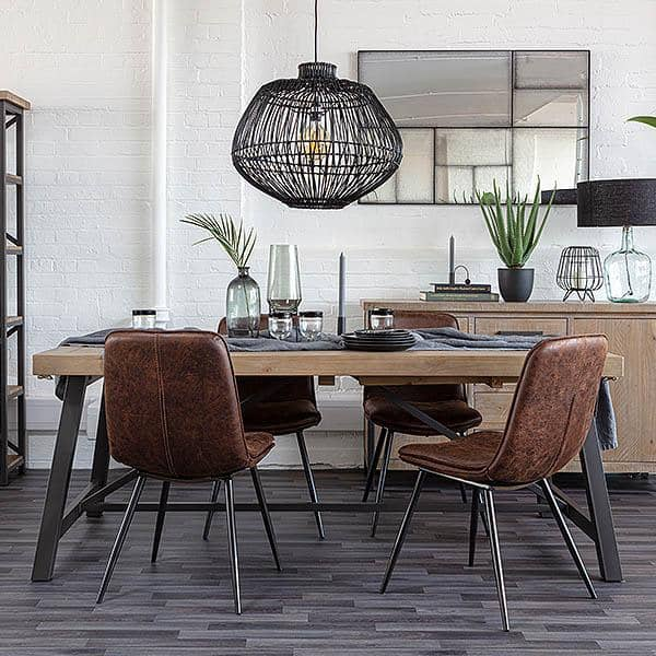 Industrial Lansdowne Rustic Wood Extending Dining Table and chairs