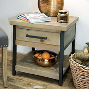 Industrial Lansdowne Reclaimed Wood Lamp Table Lifestyle