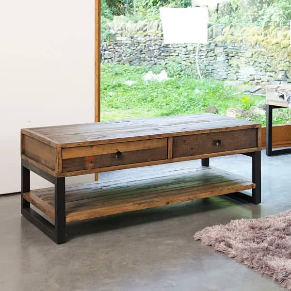 Standford Industrial Reclaimed Wood Coffee Table with 2 Drawers