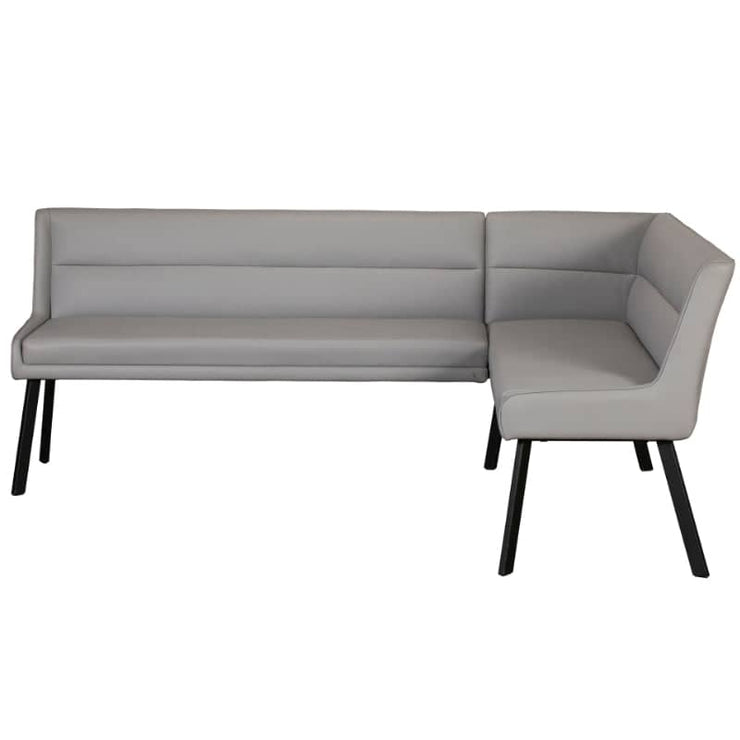 Light Grey Faux leather corner bench with  black steel legs.