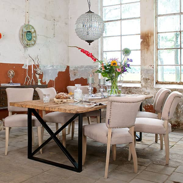 Luxe Kensington Industrial Reclaimed Wood Dining Table and Chairs